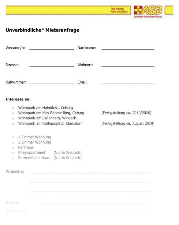 Mieteranfrage Formular downloaden